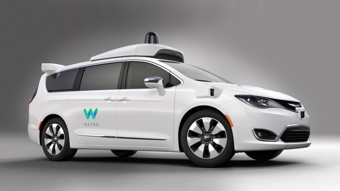 Image of Waymo self driving cars white