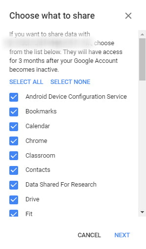 google account data sharing after three month account deactivation