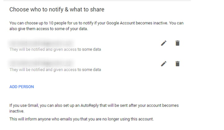 Google account data sharing with others