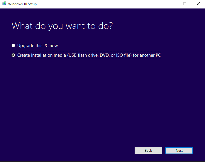 A screenshot of first step of Windows media creation tool selecting 'Create installation media' option