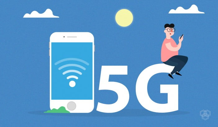 An illustration showing 5G