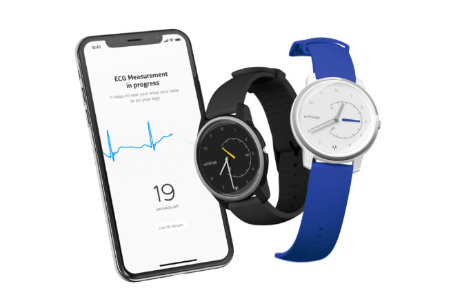 iPhone XS with Withings' Move ECG smartwatch