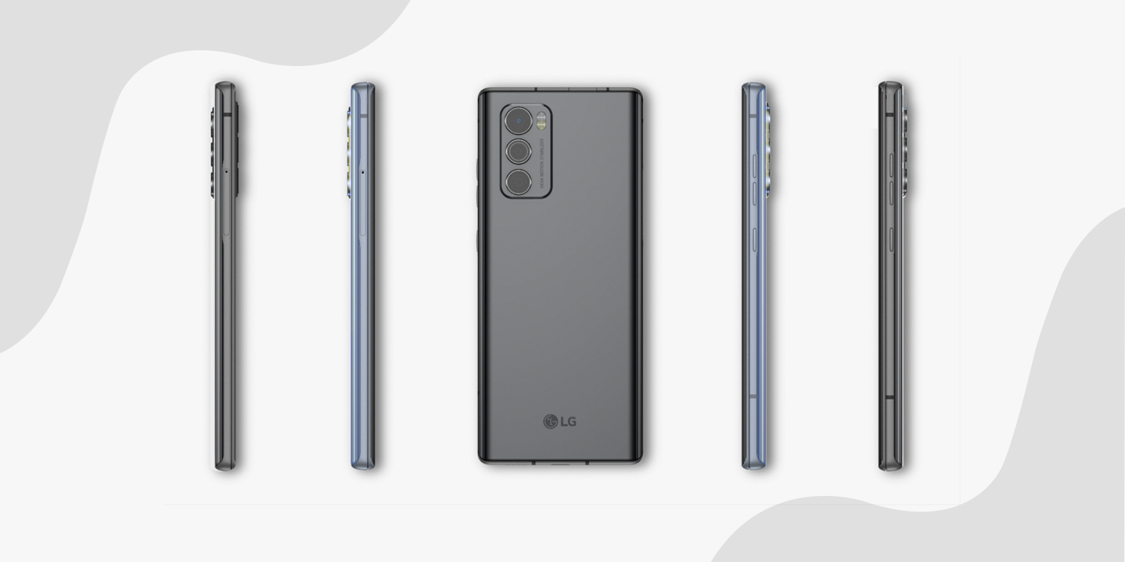 Rear view of LG WING smartphone