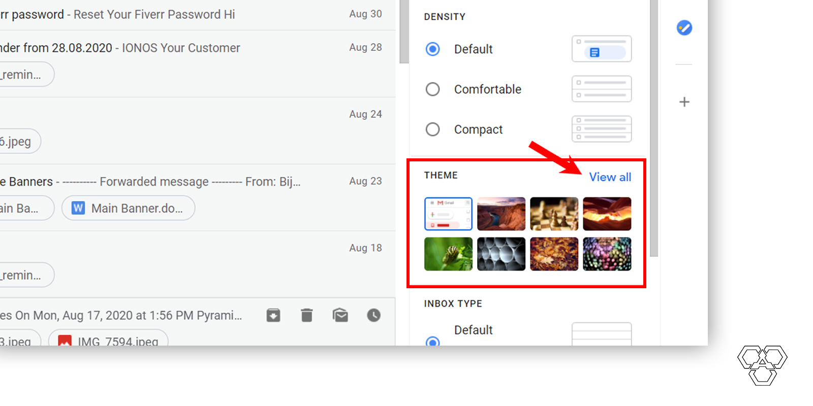 View all themes option in gmail