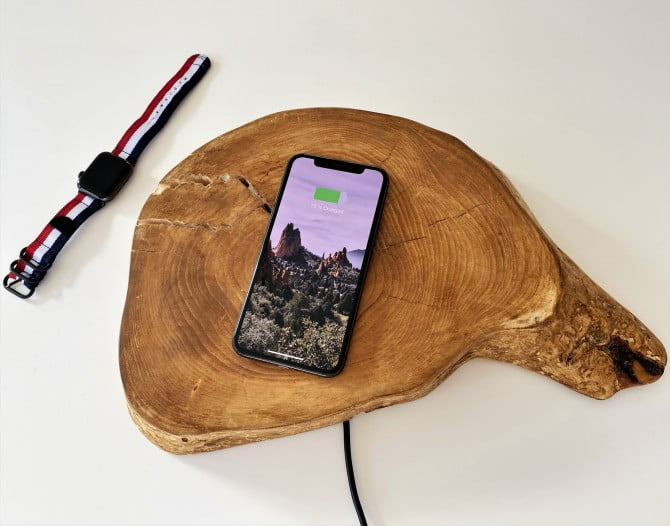 Charging an iPhone X on a wireless charger