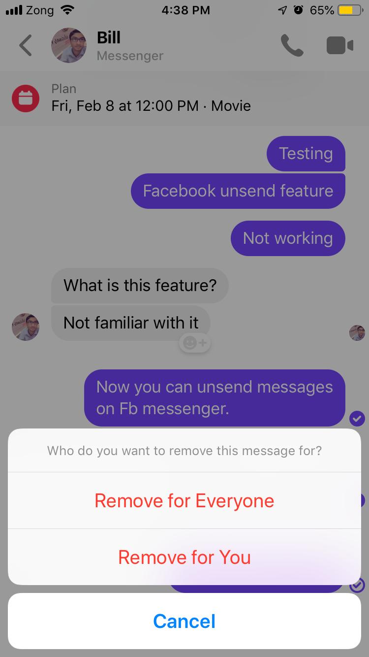 facebook messenger ios screenshot for unsend message