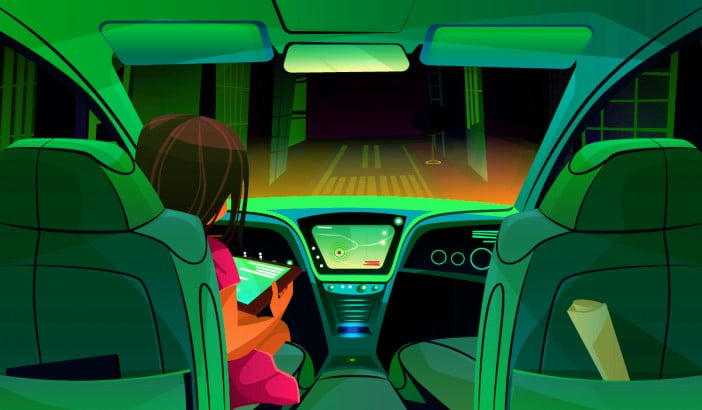 An illustration of autonomous car driving itself on road while a girl uses her tablet