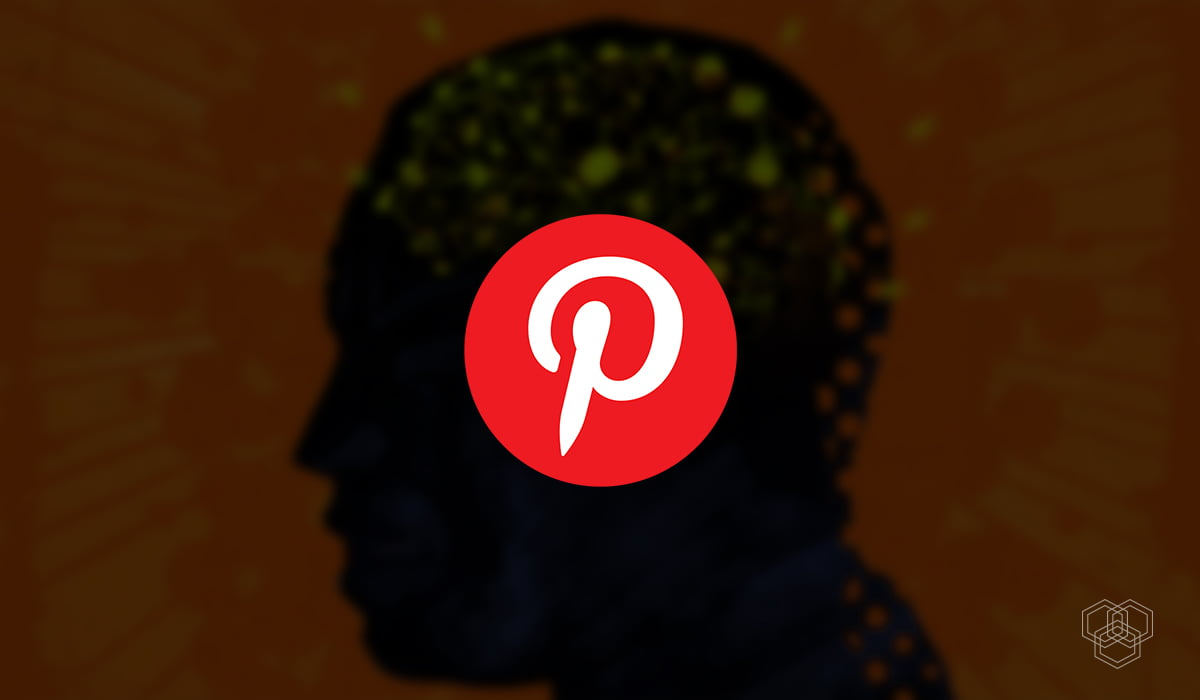 an illustration shows pinterest logo with a vector of man in the background