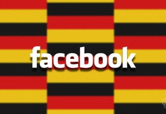 facebook logo with germany flag in the background