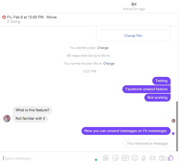 screenshot of facebook messenger web unsend message feature