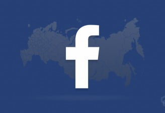 A facebook logo with a russian map in the background