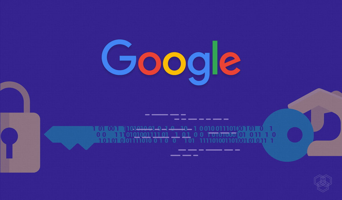 an illustration of Google's logo with a key and lock showing encryption