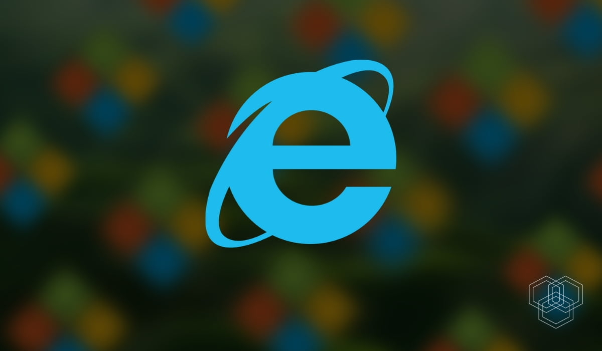 An image with Internet explorer logo with Microsoft logo in the background