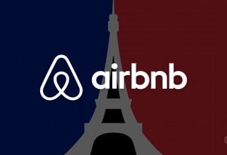 an image with paris eiffel tower and airbnb logo