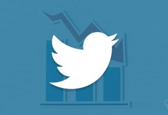 an illustration showing twitter logo with stocks falling in the background