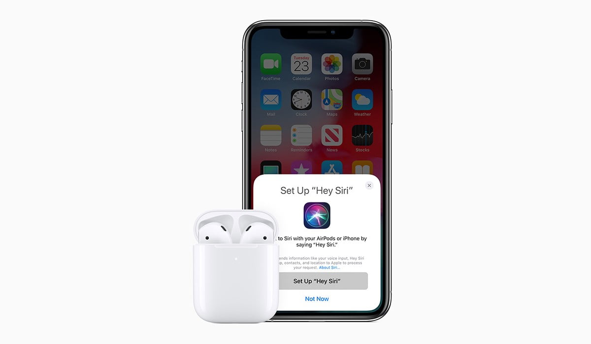 A photo of new Apple AirPods 2019 with action sheet showing connectivity with iPhone XS