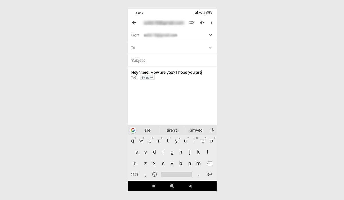 Smart compose feature in action on Gmail for Android