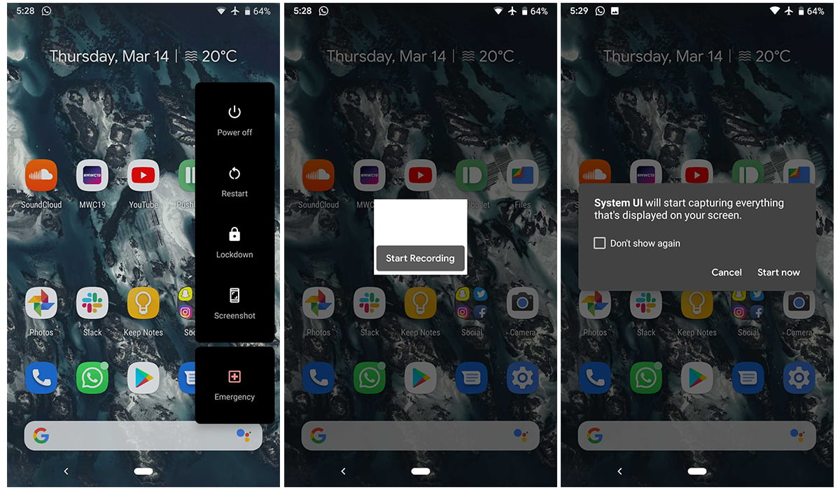 Screenshots of native screen recoder in Android Q Beta