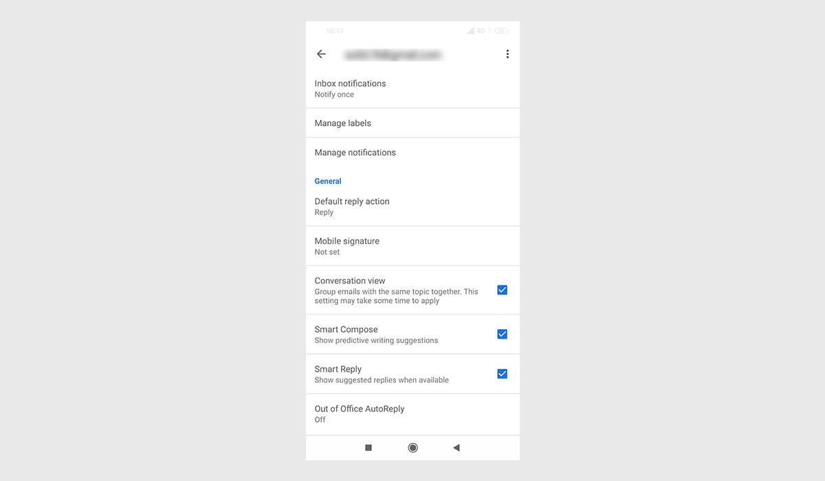 enable Smart Compose on Gmail for Android setting screen