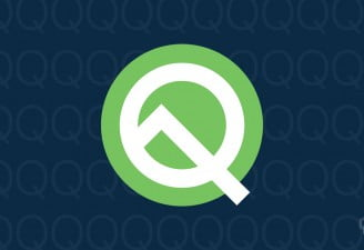 An illustration with Android Q Beta logo