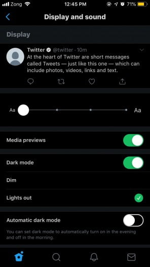 A Screenshot of Lights Out mode enabled in Twitter app