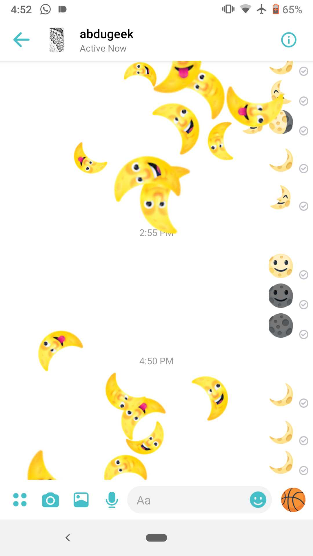 A screenshot of facebook messenger chat with crescents showering