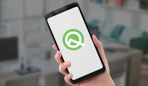 Android Q Beta logo on Google Pixel 2 XL