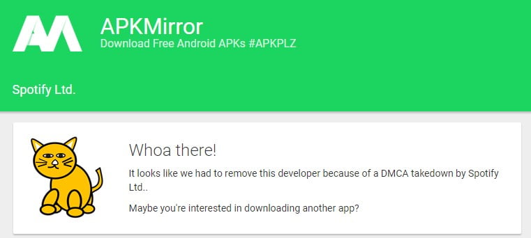 Screenshot of APK Mirror website with Spotify category showing DMCA take down message