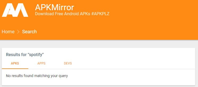 "A screenshot of APK Mirror website showing results for ""spotify"" query"