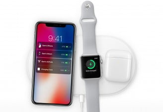 A photo of Apple devices getting charged wirelessly with AirPower