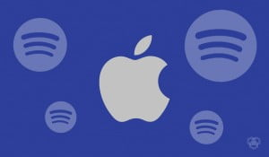 An illustration of Apple and Spotify logo