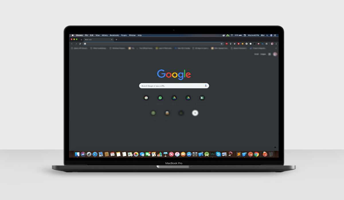 A mockup of MacBook Pro with Chrome dark mode enabled on macOS Mojave