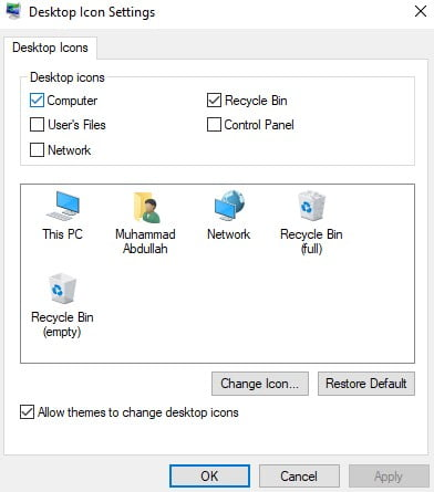 A screenshot of Desktop Icon Settings