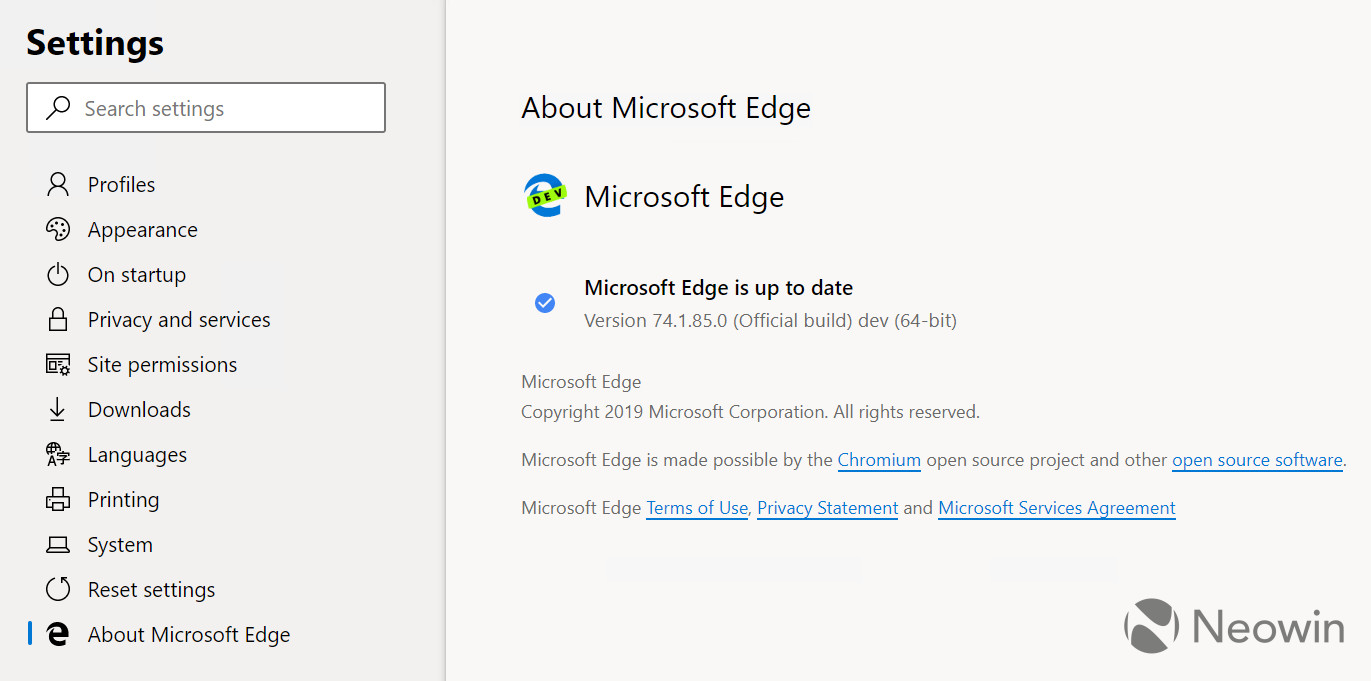 About page screenshot of Microsoft Edge's Chromium builds