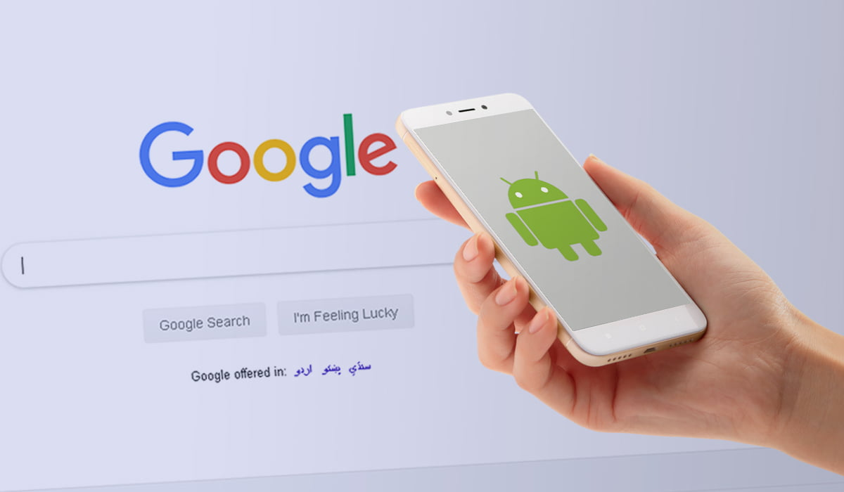 A picture of Android phone with Google search logo in background