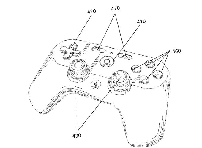A sketch of Project Stream game controllers from patent application submitted by Google to United States Patent Applications