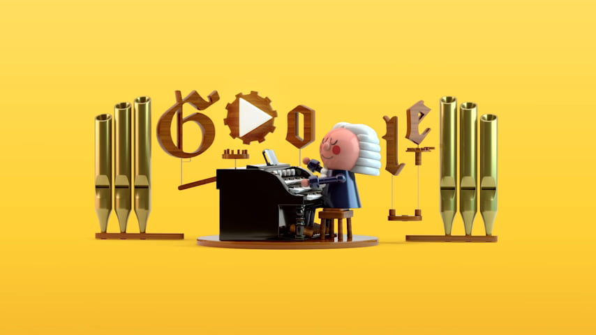 An illustration of Johann Sebastian Bach's doodle on Google