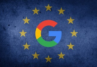 An image of European Union flag with Google's logo