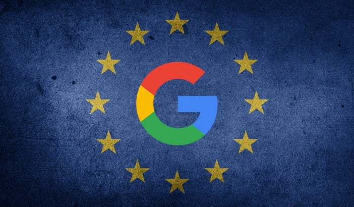 An image of European Union flag with Google's logo
