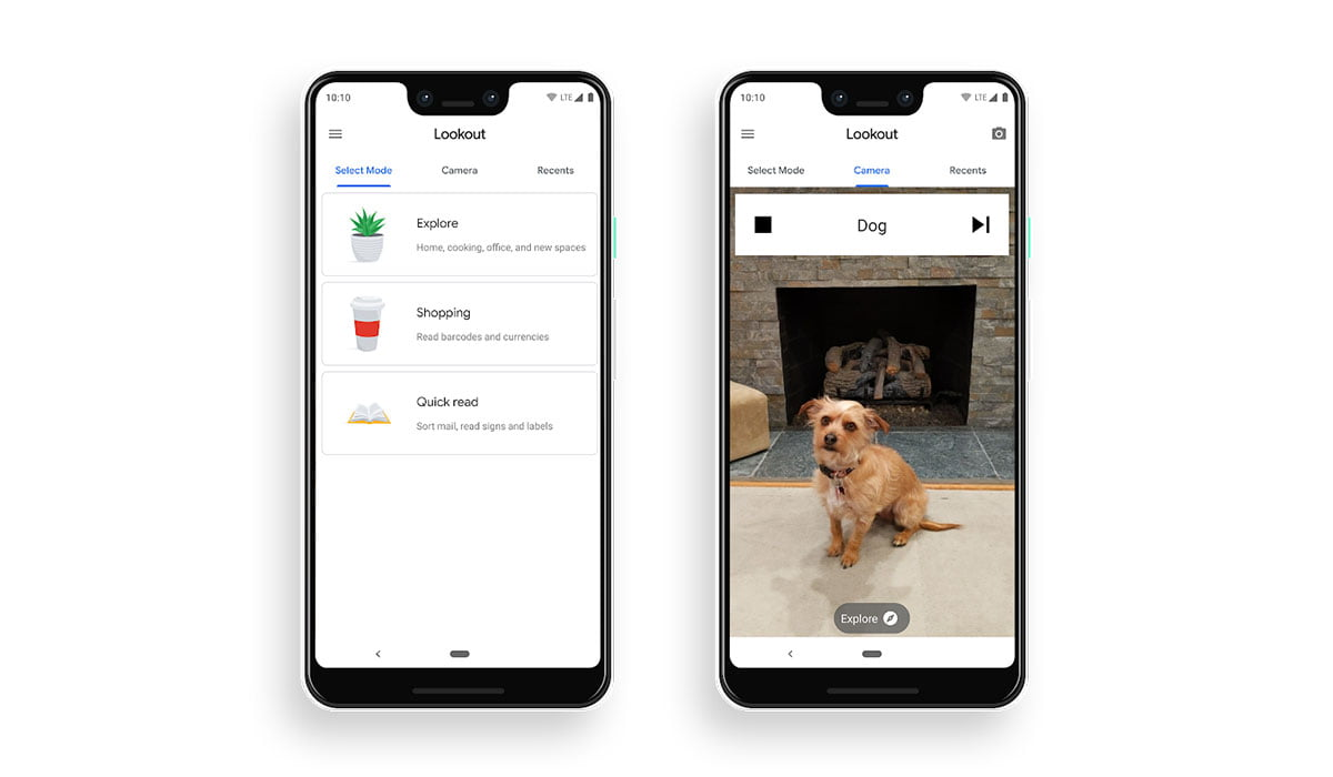 Mockups of two Google Pixel 3 XL showing Google Lookout running