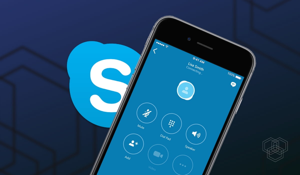 An featured image design with skype logo and an iPhone mockup with skype running on it