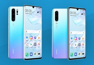 A photo of Huawei's P30 phone series showing P30 and P30 Pro