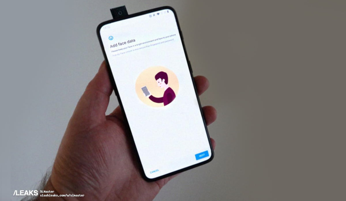 An alleged leaked photo of OnePlus 7 showing a pop-up selfie camera in the hands of a person