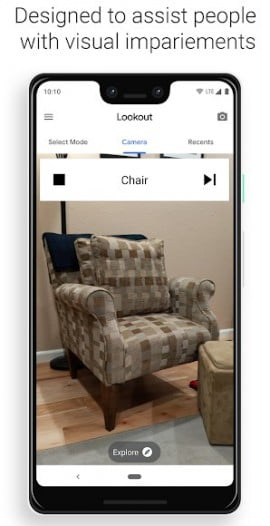 Google lookout detecting a sofa on Pixel 3 XL