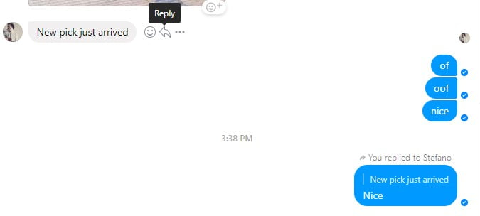 A snapshot of conversation with threaded replies on Facebook Messenger