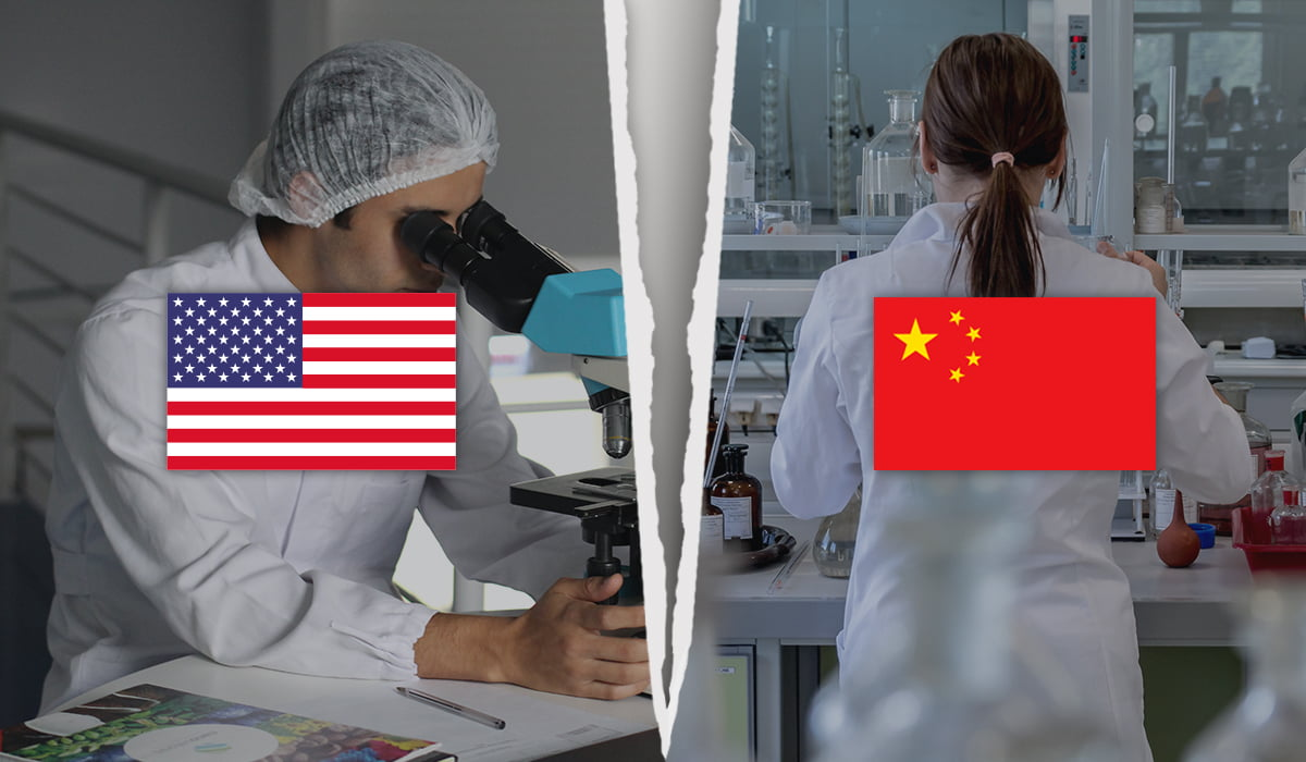 a collage of two images with US and China flags on it showing US and Chinese scientists working in different labs