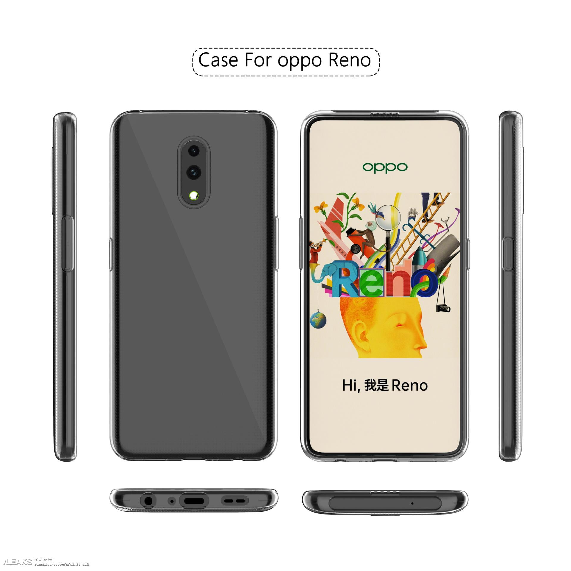 A possible render of Oppo Reno phone's case with pop-up camera