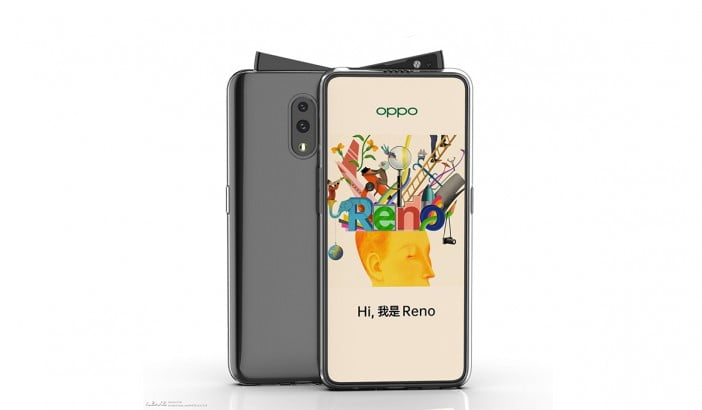 A render of possible Oppo Reno phone with a swivel pop-up camera