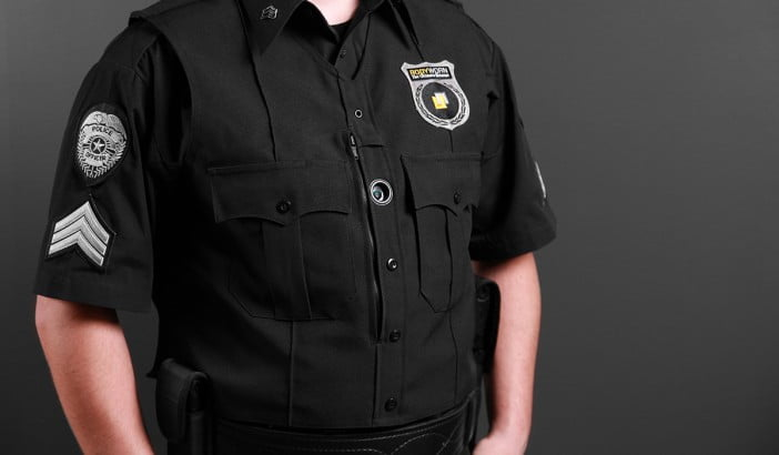 A photo of Police uniform with body camera