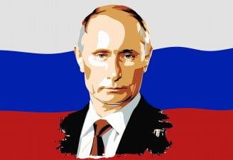 A vector of Putin's portrait on Russian flag